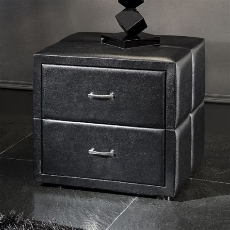 Bedside Drawers Black by Vespa 2 Drawer Black Faux Leather Bedside