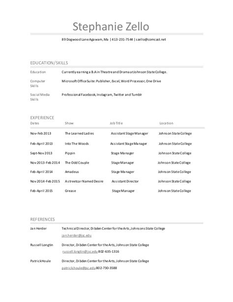 Stage Manager Resume by Resume Stage Manager