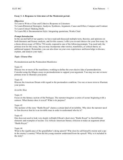 Battle Royal Essay by Elit 48 C Essay 2 Postmodernism And Battle Royal