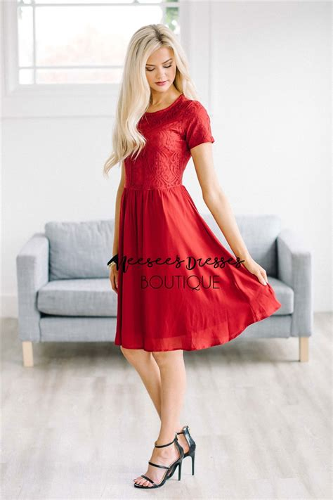 red lace holiday chiffon modest dress modest bridesmaids