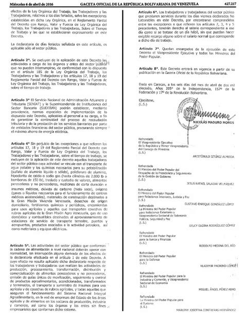 ultima hora gaceta oficial publica modificaciones de la publicada gaceta oficial que declara viernes como no