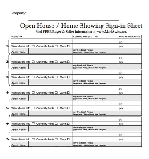free real estate open house sign in sheet open house sign in sheet printable my blog