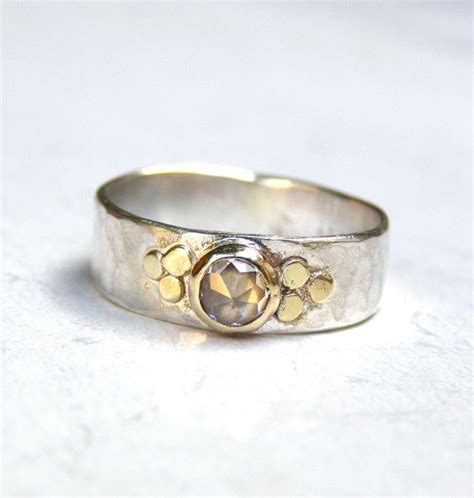 Handmade Silver And Gold Rings - unique engagement ring lab diamonds ring gold and silver