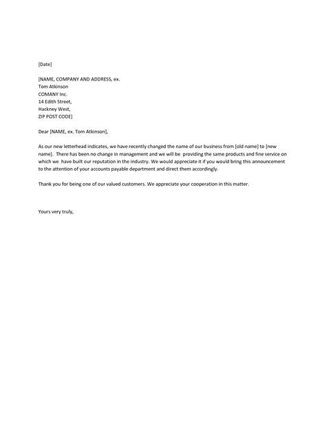 change of name template letter best photos of company name change letter template