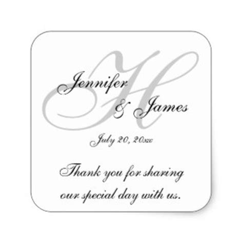 thank you cards for wedding dinner plates template wedding monogram stickers zazzle