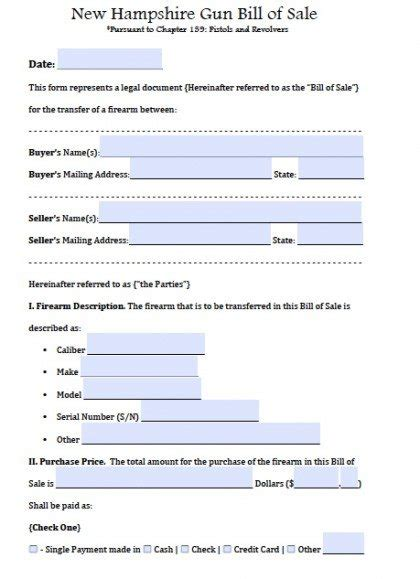 Free New Hshire Firearm Bill Of Sale Form Pdf Word Doc Nh Boat Bill Of Sale Template
