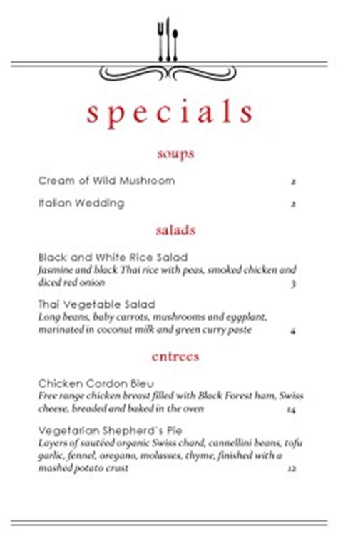 east cafe specials menu daily special menus