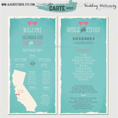 wedding ceremony design state wedding ceremony program card wedding program