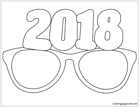 Free Coloring Page 2018 by Glasses 2018 Coloring Page Free Coloring Pages