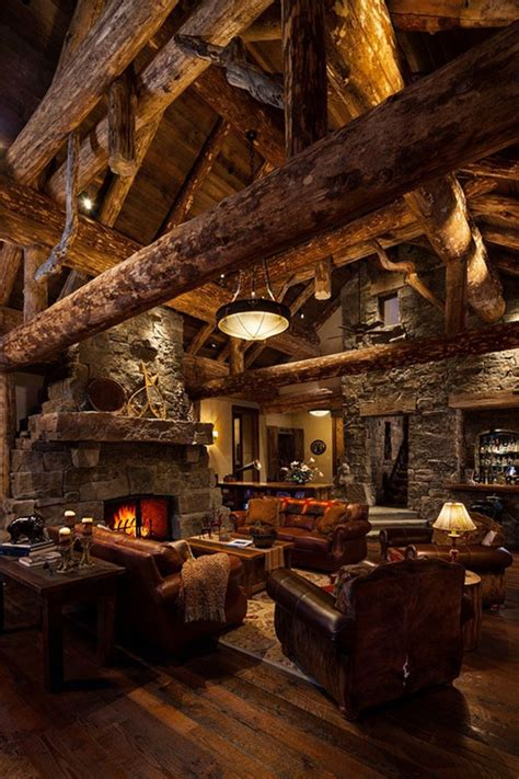 Log Home Interior Photos by Old West Inspired Luxury Rustic Log Cabin In Big Sky