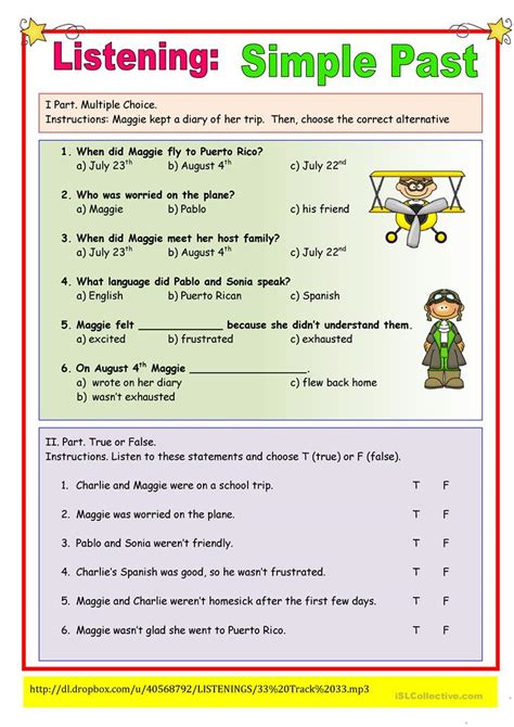 biography simple past exercise listening simple past exercise worksheet free esl