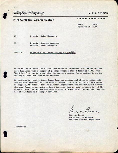 Introduction Letter For Scrap Company Edsel Historical Documents