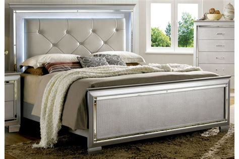 Lighted Headboard Bedroom Set by Allura Silver Bed By Furniture Of America Cm7979sv Q