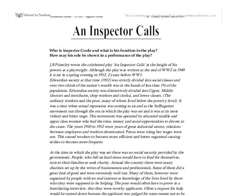 The Inspector Calls Essay by An Inspector Calls Collective Responsibility Essay