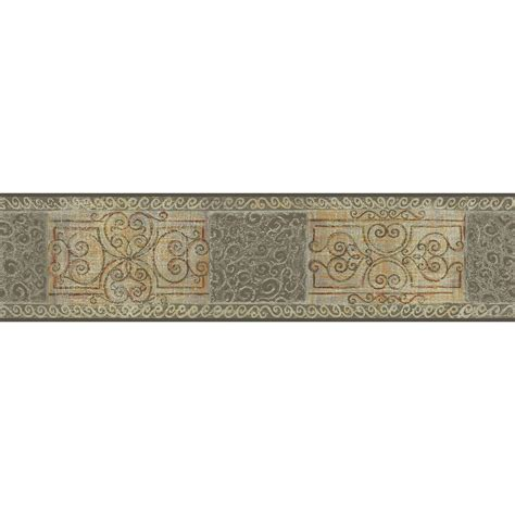 the wallpaper company 5 13 in x 15 ft grey and beige scroll tile border wc1281842 the home depot