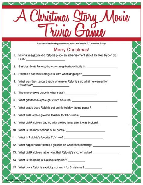 printable christmas party quiz a christmas story movie trivia christmas games