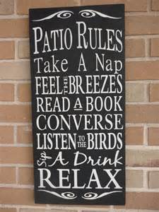 signs for home decor patio rules sign home decor sign porch sign cabin by dawnspainting