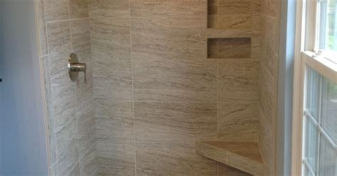 marazzi silk elegant 12x24 quot tiles in a 34x48 quot shower space