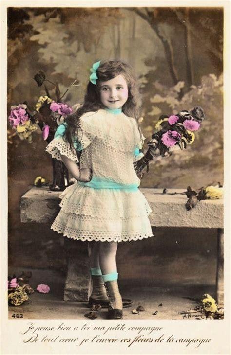 vintage postcard adorable  girl  graphics fairy