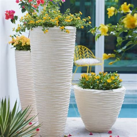 white outdoor planters textured planters white west elm