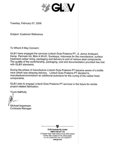 welding certification letter reference from gl v australia pty limited