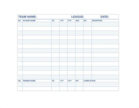 football stat sheet template stat sheet template 7 free word excel pdf documents