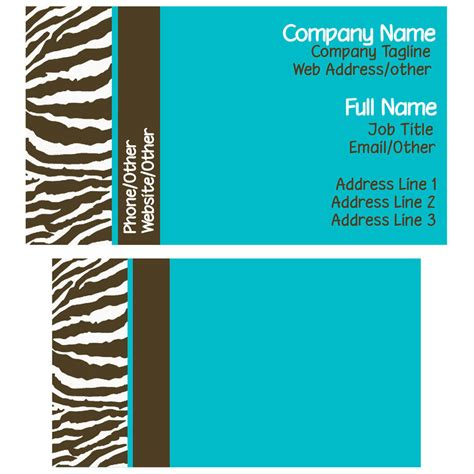 blue card template brown and blue zebra business card template by stacyo on