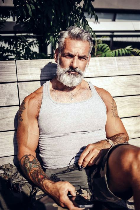 grey hair and beard and tattoos men pinterest beards how to plan your fitness comeback man style natural and