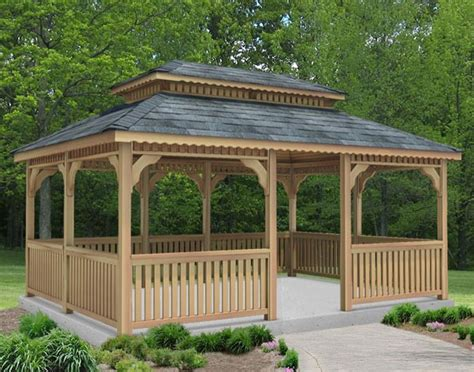 gazebo creations cedar roof rectangle gazebos gazebos by style