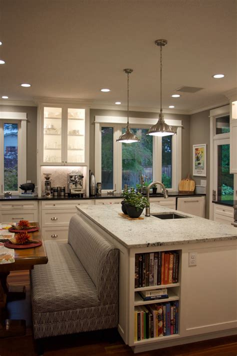 kitchen island with banquette before after holly s dream kitchen remodel school of