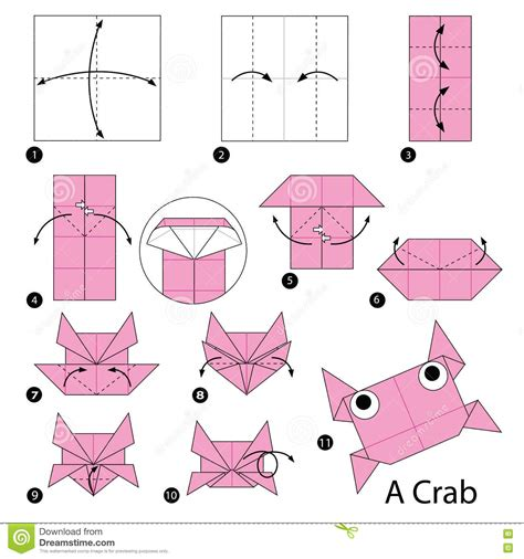 How To Make Origami Crab - step by step how to make origami a crab