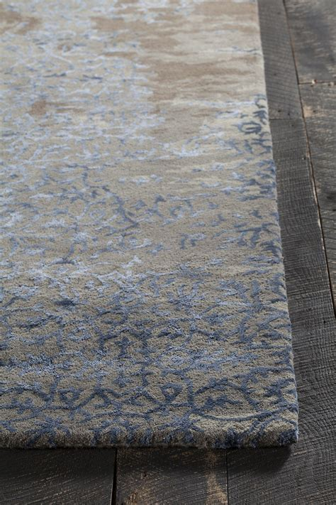 Blue Grey Brown Area Rug Rupec Collection Hand Tufted Area Rug In Grey Blue
