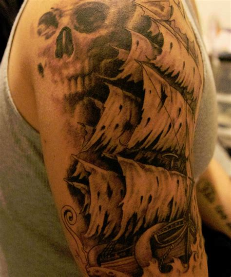 skull pirate tattoo design pirate ships on pirate ship tattoos ship