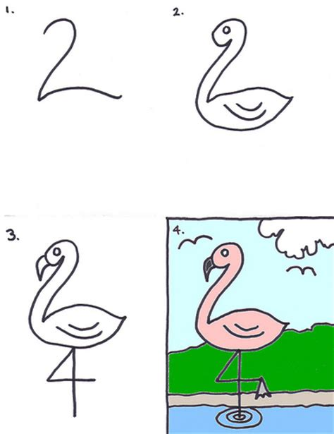 how to start drawing doodle how to draw a flamingo for for