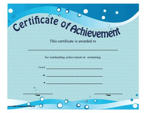 swimming certificate templates free certificate of achievement quotes quotesgram