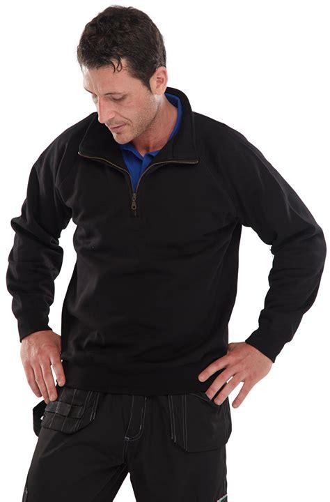 Sweatshirt Workwear Black clqzss quarter zip sweatshirt black beeswift workwear hi viz and ppe uk