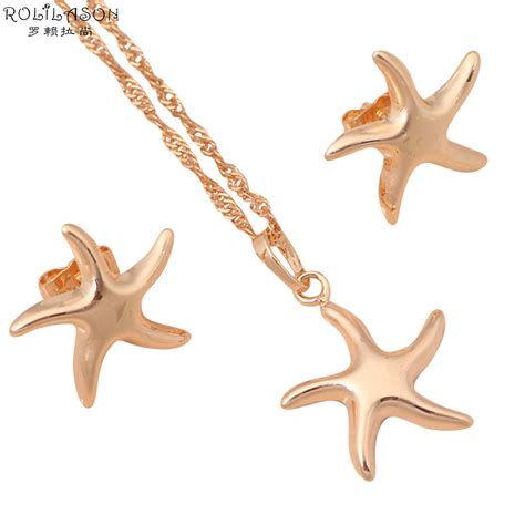 starfish necklace sets gold 18k plated fashion jewelry stud earrings austrian element health