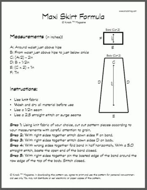 pattern making formula maxi skirt formula free pdf sewing free patterns