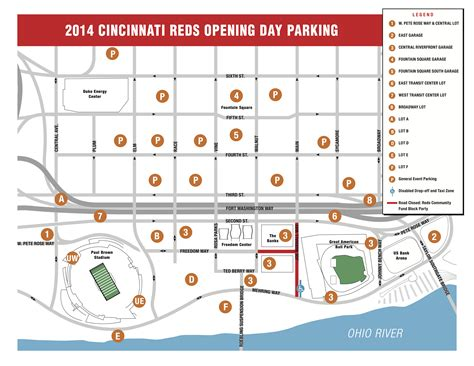 great american ballpark map great american ballpark parking guide rates maps tips