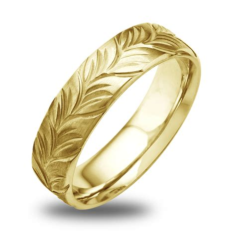 14k 18k white or yellow gold satin engraved leaf mens