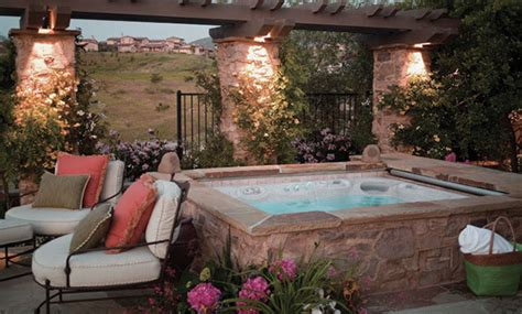 backyard designs with hot tub backyard patio ideas with hot tub landscaping
