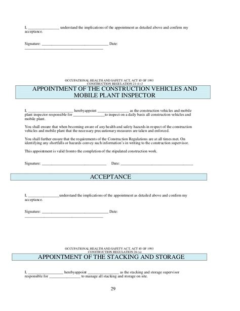 hse appointment letter template health and safety plan generic