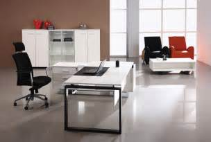 Modern white office executive desk with black chair file cabinet and