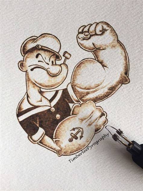 tattoo burned paper popeye pyrography art on watercolour paper door