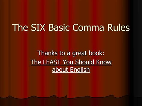 ppt the six basic comma powerpoint presentation id 229183