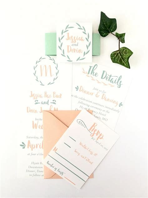 Einladung Hochzeit Mint by Custom Greenery Mint And Wedding Invitation Suite