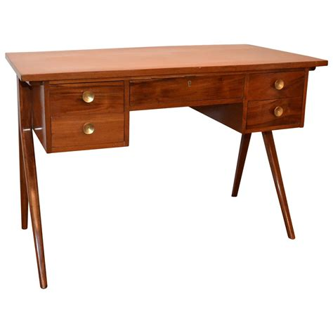 Mid Century Modern Writing Desk Argentinian Mid Century Modern Writing Table Or Desk With Brass Pulls For Sale At 1stdibs