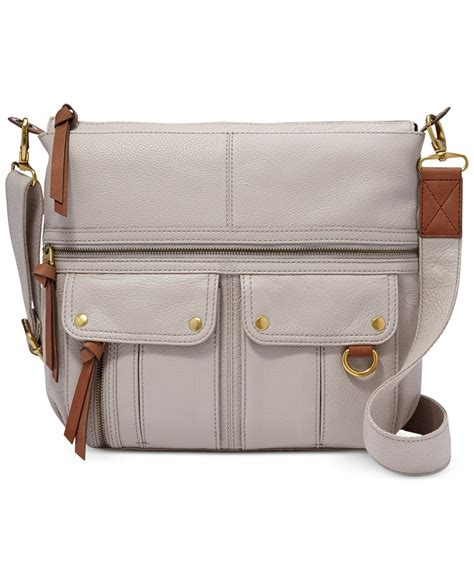 Fossil Crossbody Model 705b fossil leather top zip crossbody in gray lyst