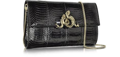 Roberto Cavalli Velvet Snake Wrap Clutch by Roberto Cavalli Serpent Black Elaphe Clutch At Forzieri
