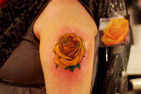 1887tattoos yellow rose tattoos